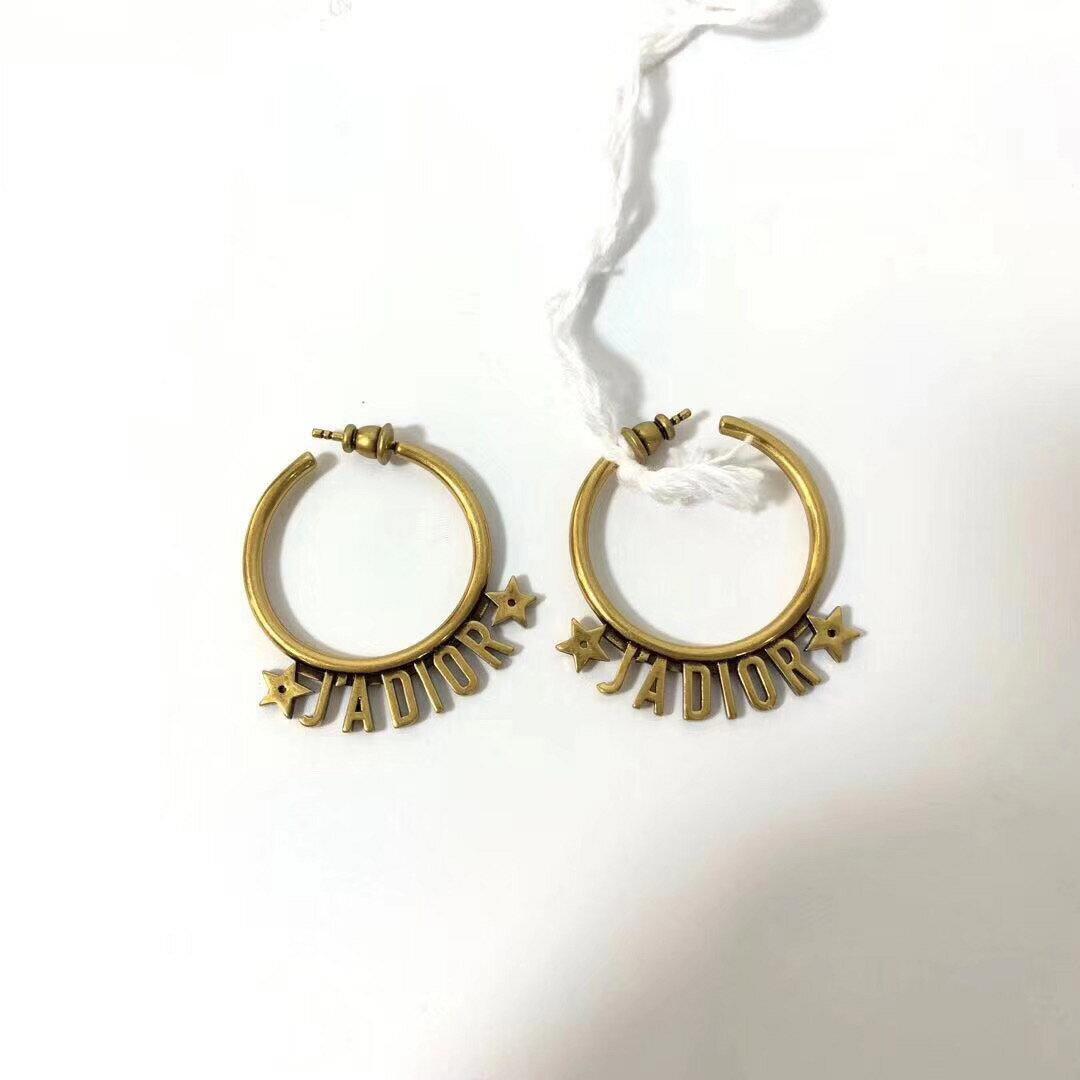 【Go時尚】DIOR 迪奧 Christian Dior J\'\'\'\'ADIOR 圓環立體LOGO個性耳環 金