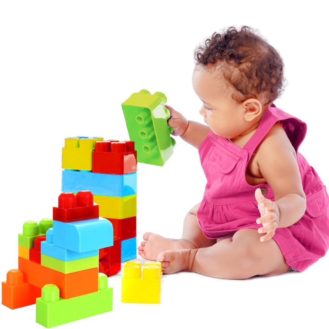 50 Piece Colorful Blocks First Builders Blocks Bag Early Learning Assorted Developmental Puzzle Toys 4