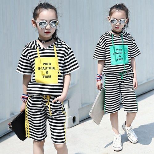 中大童短袖套裝連帽短袖上衣T恤+五分短褲二件式春夏童裝MC20521好娃娃