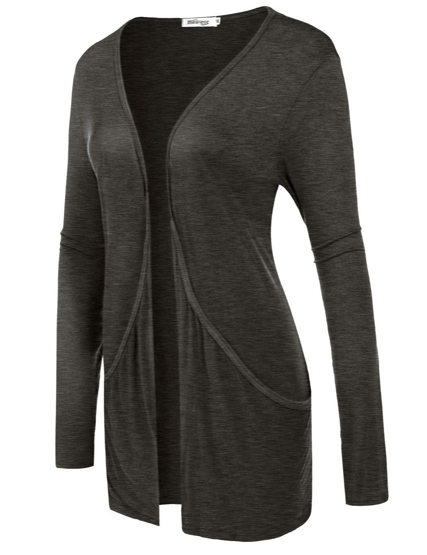 Women Long Sleeve Solid Cardigan Front Pocket Outwear 2