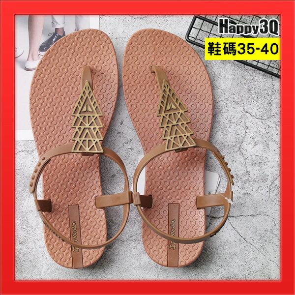 夾腳拖波西米亞風簡約幾何造型海灘拖鞋涼鞋拖鞋平底露腳趾-棕黑35-40【AAA4353】