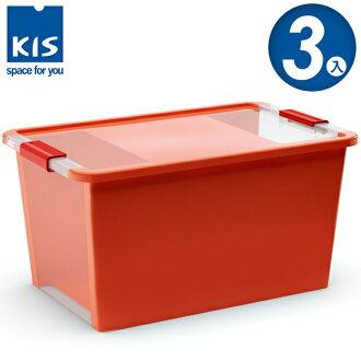 E&J【012014-03】義大利 KIS BI BOX 單開收納箱 L 橘色 3入;收納盒/整理箱/收納櫃/玩具盒
