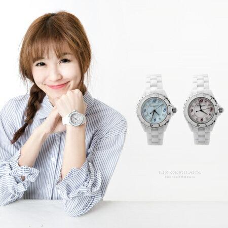 Valentino范倫鐵諾 雪白精密全陶瓷珍珠貝面手錶 旋轉外框設計 柒彩年代【NE1054】原廠公司貨 0