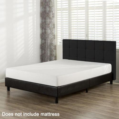 Queen Size Faux Leather Platform Bed Frame Slats Upholstered Headboard 3