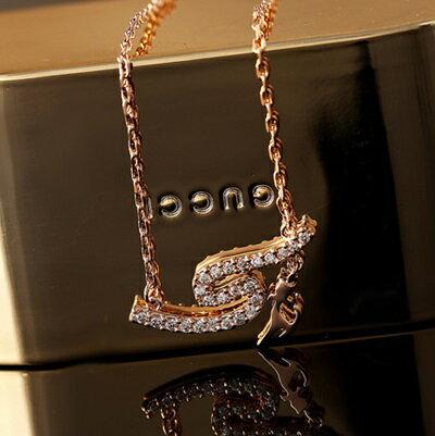 玫瑰金項鍊 鑲鑽純銀吊墜 ~可愛小貓咪精緻優雅七夕情人節 女飾品73dw99~ ~~米蘭