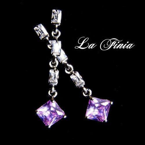 OKAY歐凱:【LaFinia】經典---水晶耳環(紫蘿蘭)