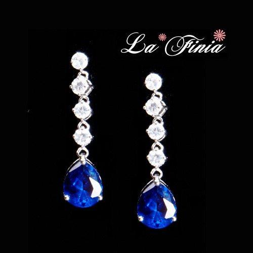 OKAY歐凱:【LaFinia】晶鑽水晶耳環(深海藍)