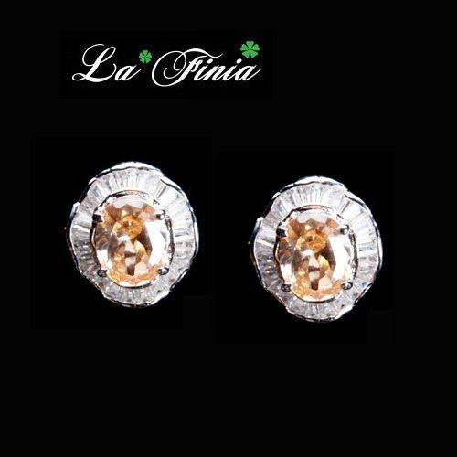 OKAY歐凱:【LaFinia】小圓舞曲水晶耳環(粉嫩橘)