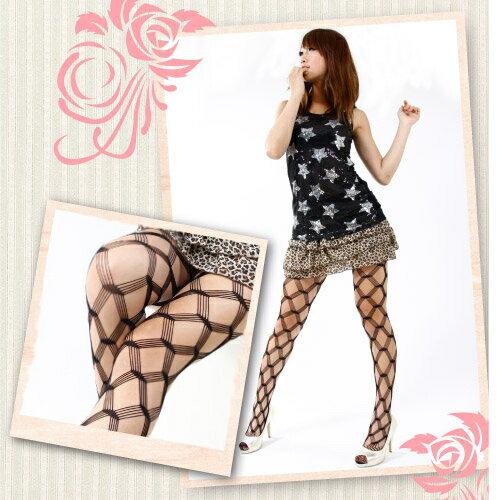 【琨蒂絲】浪漫網樣 彈性褲襪/16-XJ42 /大菱格紋(黑色)