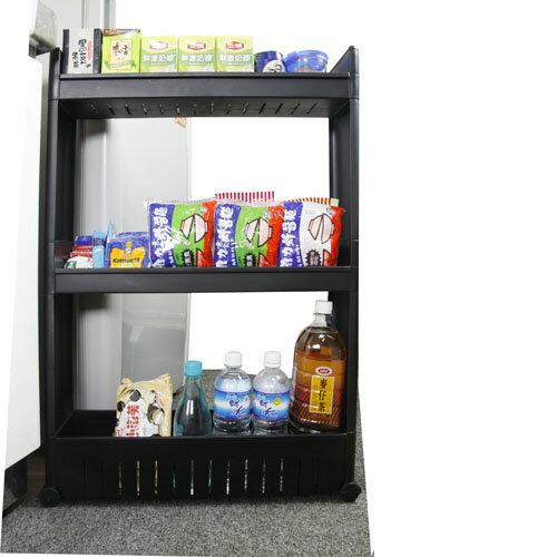 《收納家》12.5cm三層式細縫櫃收納架(附滑輪)-黑色