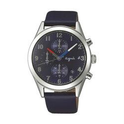 agnes b VD57-KT20U(BM3009X1)巴黎時尚計時腕錶/藍面40mm