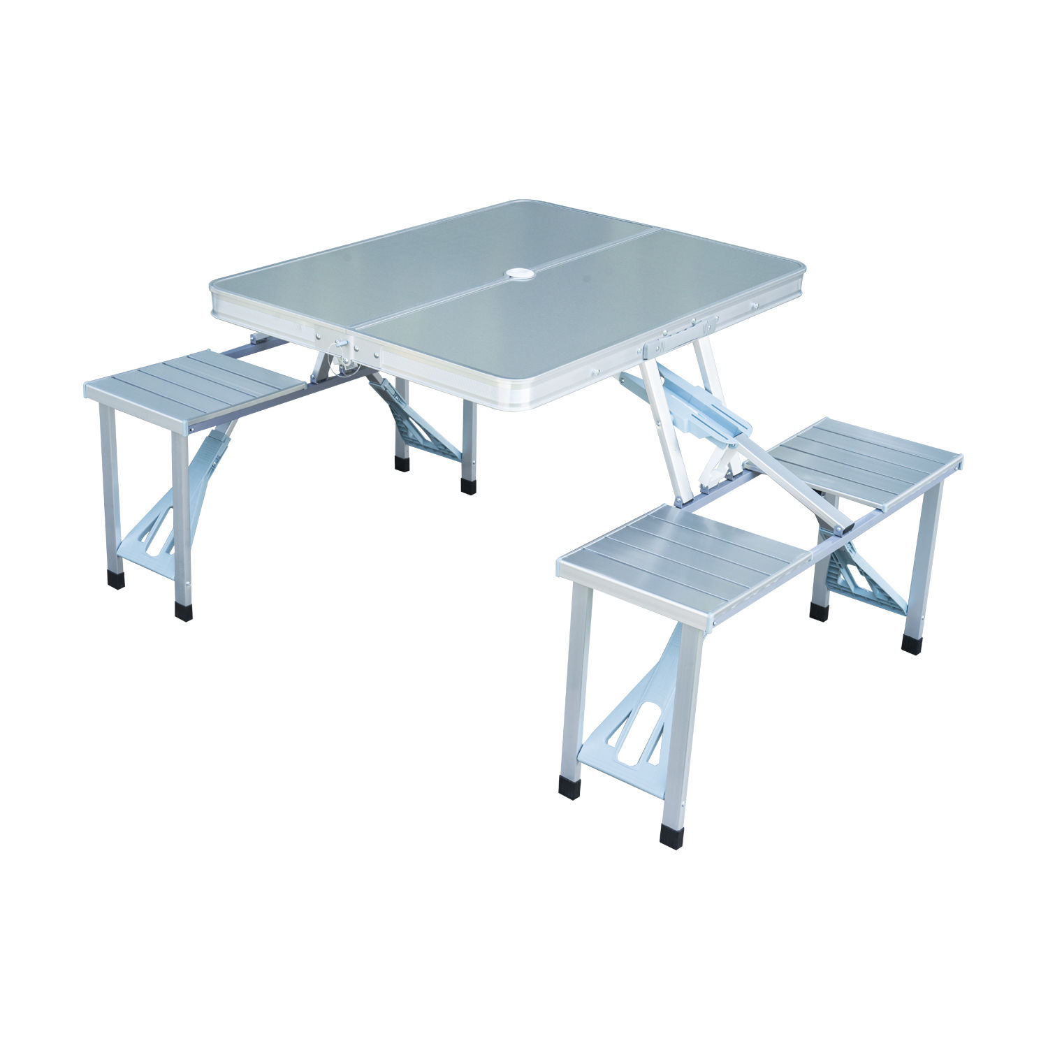 Outsunny Outdoor Aluminum Portable Folding Camp Suitcase Picnic Table With 4 Seats Silver 0