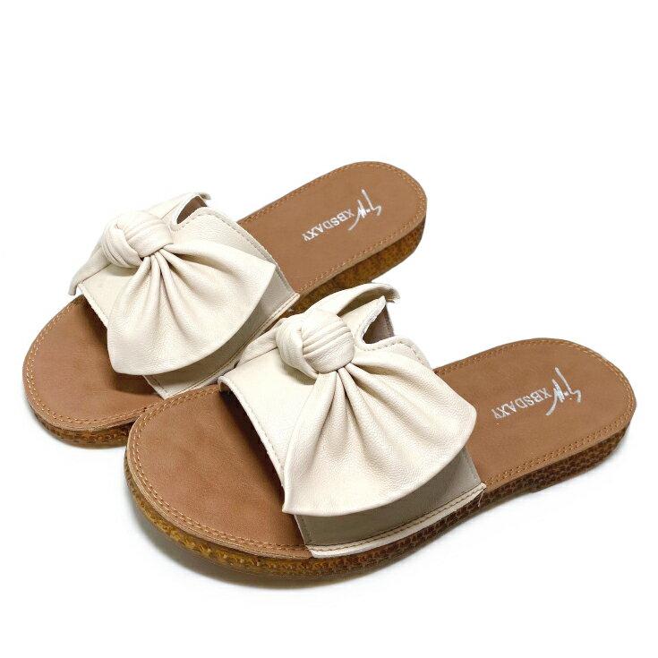 【滿額領券↘折$120】女款柔軟蝶結拖鞋 [802] 米杏【巷子屋】