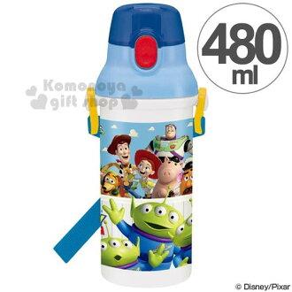 特價399↘〔小禮堂〕迪士尼 玩具總動員 日製直飲式水壺《藍.三眼怪.朋友》480ml