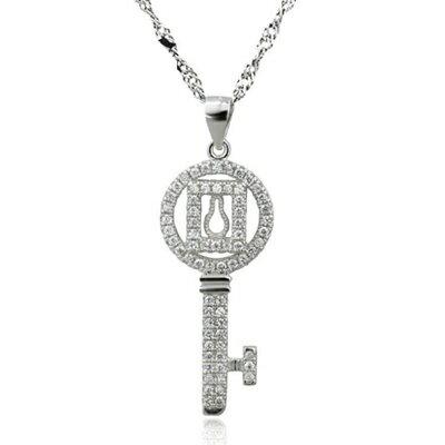 ~925純銀項鍊 鑲鑽吊墜~ 潮流 鑰匙母親節情人節生日 女飾品73dk122~ ~~米蘭