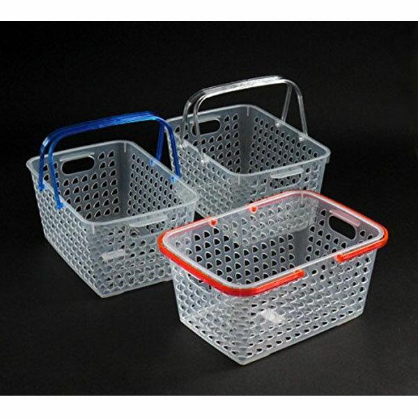 BO雜貨【YV8102】日本製 透明鏤空手提籃 彩色手把塑膠提籃 洗衣籃 野餐籃 收納籃 雜物籃 分類籃置物