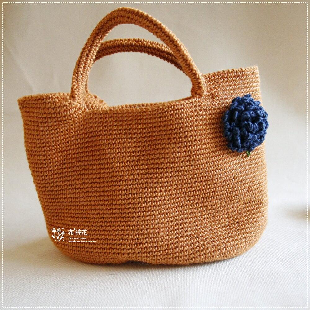 【布棉花】煙火花 毛線編織手拿包. 深藍色繡球花 薑黃苧麻手編包