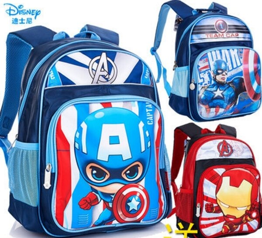 麻吉小舖:正版迪士尼美國隊長鋼鐵人雙肩包寶寶兒童書包幼兒園小學生適用1-3年級