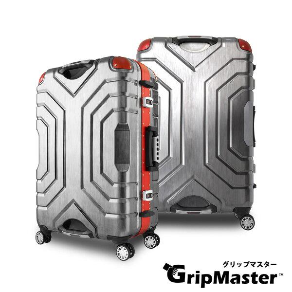 潘堤翁精品旅行箱:日本GripMaster27吋王者霸氣雙把手行李箱硬殼鋁框旅行箱-黑拉絲