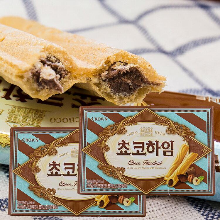 韓國CROWN巧克力威化捲(47g) 【庫奇小舖】