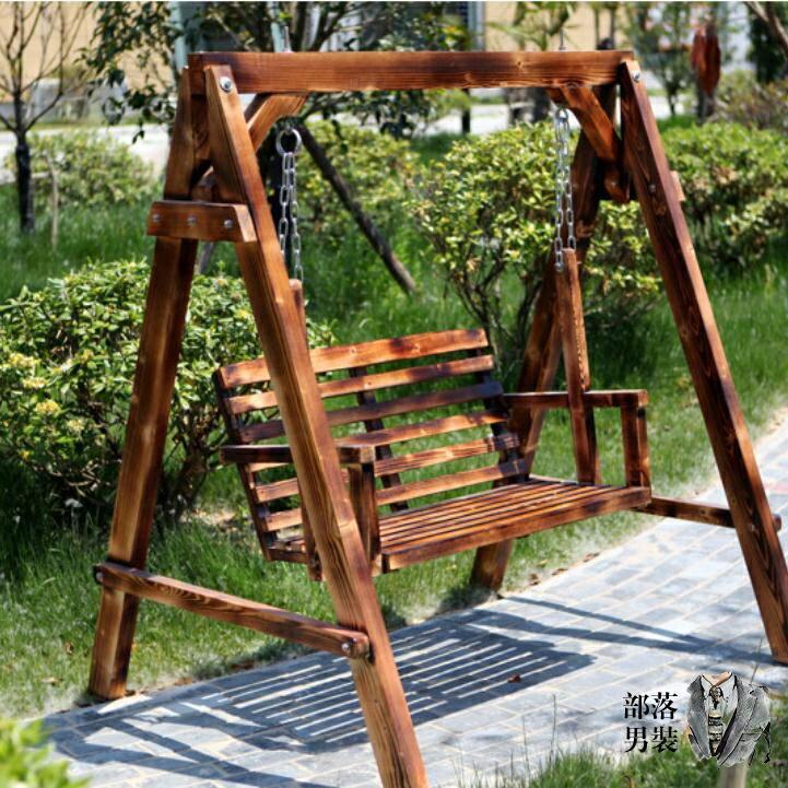 戶外鞦韆 防腐實木鞦韆 公園戶外庭院雙人搖椅兒童吊籃藤椅陽台鞦韆 休閒家用T