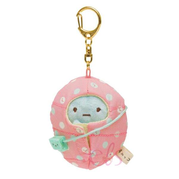 日本SAN-X角落生物斜背包造型粉色睡袋鑰匙圈☆艾莉莎ELS☆