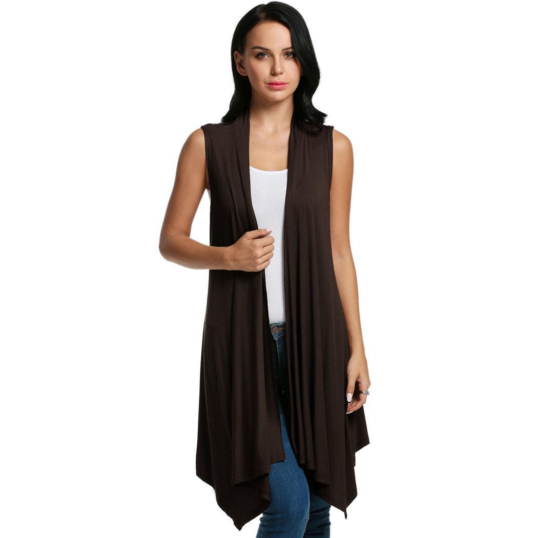 Women Sleeveless Asymmetrical Hem Open Front Casual Long Cardigan 4