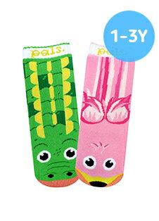★衛立兒生活館★美國Pals Socks 好夥伴寶寶襪-鱷魚火鶴(1-3Y)