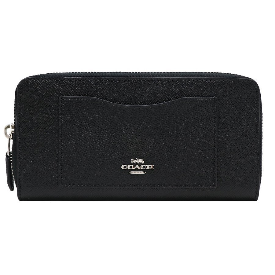 COACH 金字馬車LOGO皮革外口袋拉鍊長夾(黑)銀色logo