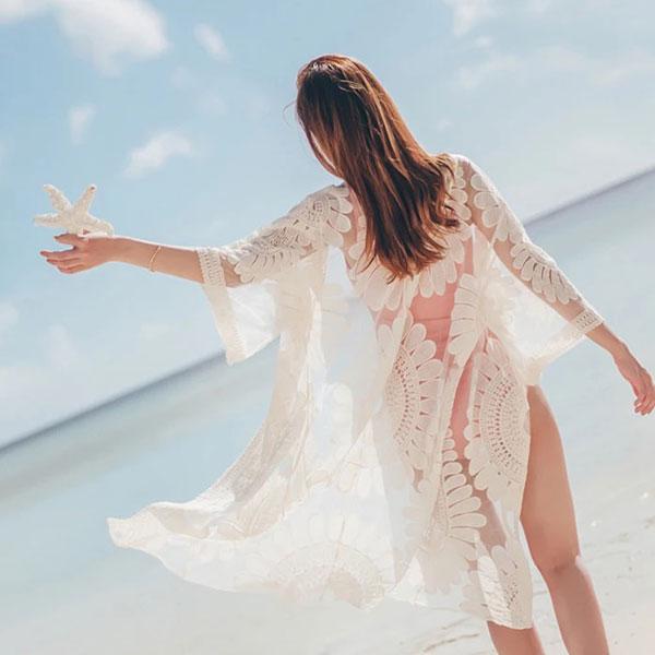 大花朵外套透膚罩衫蕾絲刺繡長版遮陽防曬比基尼泳衣泳裝性感顯瘦透視披肩外搭ANNAS.