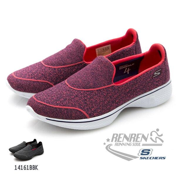 SKECHERS女運動鞋GOWalk4(紅)避震緩衝款懶人鞋14161HPK【胖媛的店】