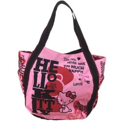 【真愛日本】17081800001 KTxDearisimo托特包-KT桃紅 三麗鷗 kitty 凱蒂貓 肩背包包