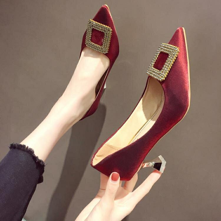 法式小高跟鞋女年新款細跟網紅尖頭仙女單鞋溫柔紅色新娘婚鞋 雙12全館免運