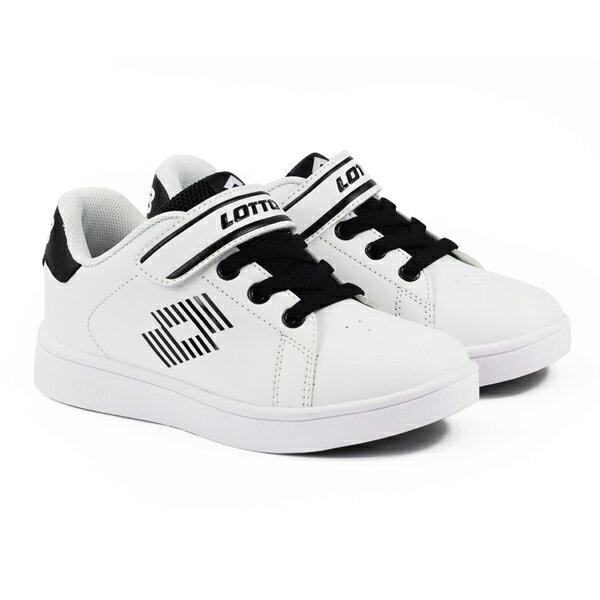 【巷子屋】義大利第一品牌-LOTTO童款1973經典網球鞋[6988]白黑超值價$700