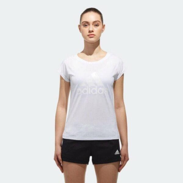 ADIDAS女裝短袖休閒透氣舒適慢跑訓練白【運動世界】CZ2372