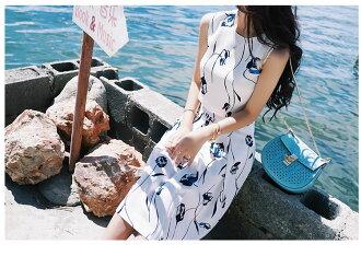 氣質夏日顯瘦露臍인쇄印畫背心半裙세트套裝十天預購+現貨