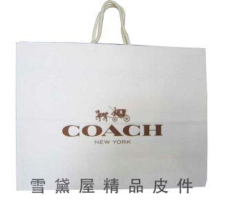 ~雪黛屋~COACH 紙袋國際正版男女包紙提袋進口厚紙材質可摺疊收納展開為提袋大型可放A4資料夾#5044