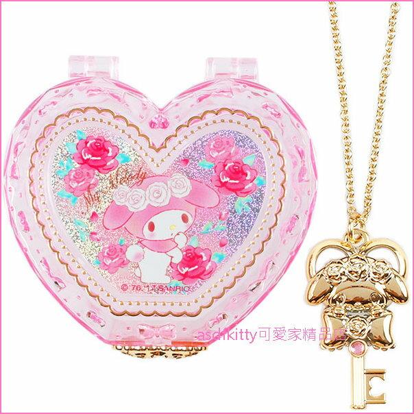 asdfkitty可愛家☆美樂蒂愛心飾品盒附項鍊鑰匙-日本正版商品