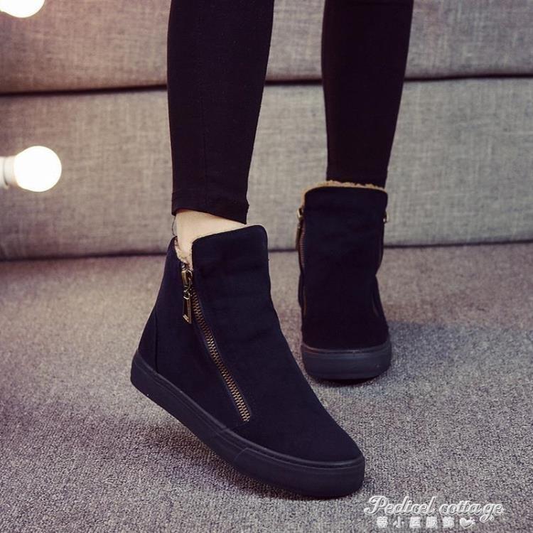 新款加絨保暖短筒雪地靴女棉靴學生韓版百搭棉鞋馬丁短靴