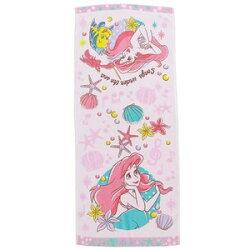 大賀屋 小美人魚 長毛巾 粉紅 小比目魚 愛麗兒 兒童 洗臉 毛巾 浴巾 迪士尼 日貨 正版 授權 J00013567