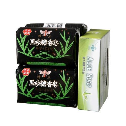 蜂王黑砂糖香皂90g*4蘆薈皂80g*1【愛買】