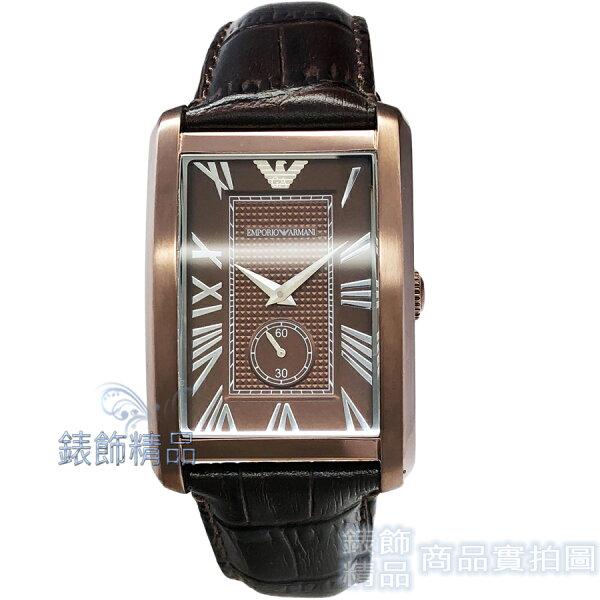 【錶飾精品】ARMANI手錶AR1606亞曼尼方形咖啡金面小秒咖啡皮帶男錶