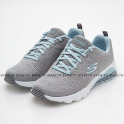 Shoestw【12921GYLB】SKECHERS 健走鞋 Air Extreme 記憶型泡棉鞋墊 後氣墊 灰水藍 女生尺寸