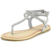 Alpine Swiss Womens Rhinestone T-Strap Sandals Ankle Strap Flat Summer Shoes