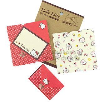 〔小禮堂〕Hello Kitty 信封便條紙《小.紅白.杯子裡.蝴蝶結》2款圖案