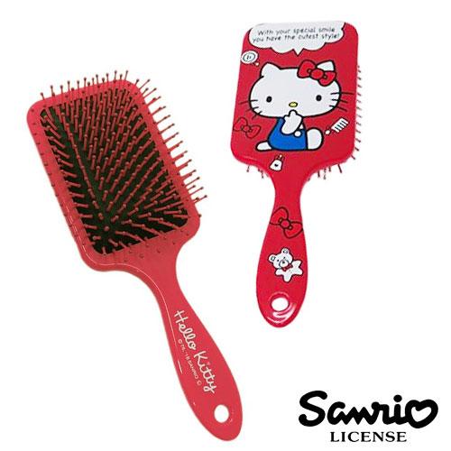 紅經典款【日本進口正版】Hello Kitty 凱蒂貓 頭皮 按摩梳 梳子 三麗鷗 Sanrio - 019954