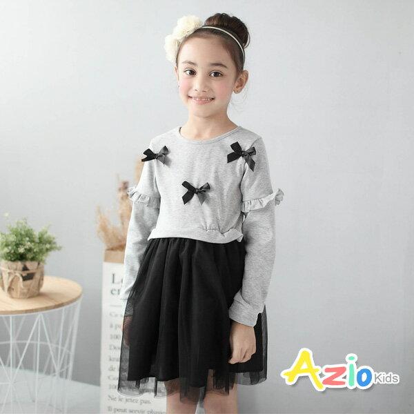 Azio Kids美國派:《美國派童裝》洋裝蝴蝶結荷葉網紗長袖洋裝(灰)