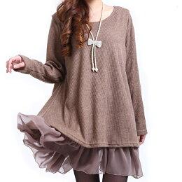 針織拼接雪紡連身裙(4色)