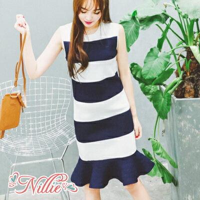 Nillie‧雙色寬條紋荷葉裙襬無袖連身裙06 07^(藍白紋^)~N88164~