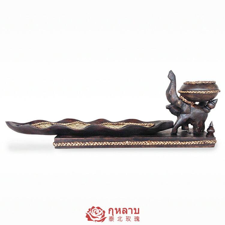 泰國香薰燭臺擺件東南亞創意復古實木香托浪漫塔香線香插盤點香座1入